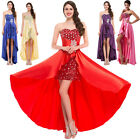 GK Stock Strapless High-Low Satin Ball Gown Cocktail Evening Prom Party Dresses