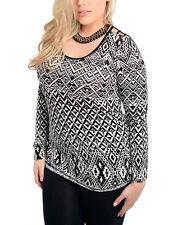 Women's Plus Size Top Size 2XL Black & White Geometric Style Top