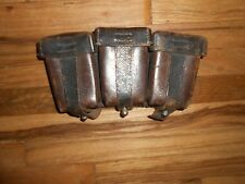Original WWII German Military TRIPLE AMMO POUCH Holder Leather