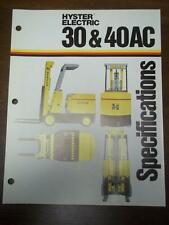 Hyster Lift Truck Brochure~Electric E30AC E40AC~Specifications~Catalog 1973