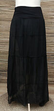 LAGENLOOK SOFT SILK AMAZING BOHO BEAUTIFUL GYPSY MAXI SKIRT*BLACK*SIZE M/L