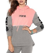 Victoria's Secret PINK Color block HIGH/LOW  Perfect Pullover Sweatshirt Coral M