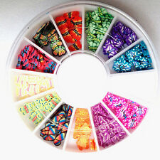 120X 3D Mix Fimo Nail Art Nail Tips Polymer Clay Slices Decor Wheel Colorful Hot