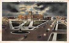 ATLANTIC CITY NEW JERSEY NIGHT VIEW OF CHELSEA SQUARE BOULEVARD POSTCARD 1940s