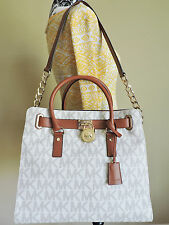 Michael Kors Hamilton Large Vanilla Lock Coated Canvas Leather Tote Shopper NWT
