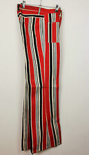 Womens/Mens Vintage 70s Party Striped  Flared  Bell Bottom Festival Jeans W28L33
