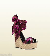 Gucci Carolina Hearbeat Espadrille Wedge Sandals Shoes 38.5 8.5 $770