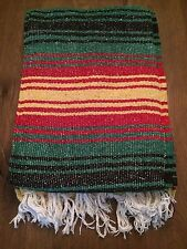 Mexican Falsa Throw Blanket * Yoga * Made in Mexico NEW - Red, green, yellow