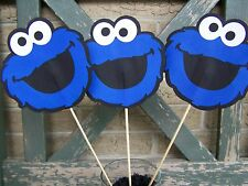 Cookie Monster Sesame Street birthday decorations centerpiece set of 3 faces