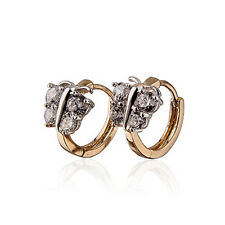 Luxury 18 k  Gold Plated with White Zircon Butterfly Small Hoops Earrings E611