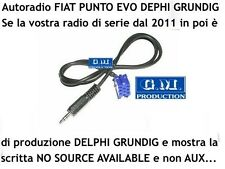 "Cavo Aux MP3 iPhone iPod Punto EVO 150 ""NO SOURCE AVAILABLE"" Grundig Delphi 1,4M"