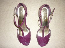 M&S Limited Collection Patent Burgandy T-Bar Wedge Heels - Size 7 - Worn Once