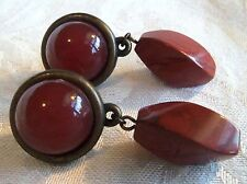 Antique Faux Carnelian Red Stone Clip back Earrings Estate Jewelry Fab!