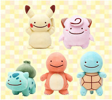"5PCS SET Squirtle Pikachu 3.5"" Ditto Metamon Pokemon Keychain Plush Doll Toy"