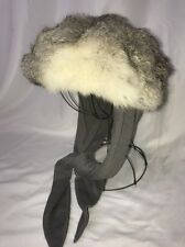 Vtg Real Fur White Grey Fox or Rabbit Winter Hat Russian Ushanka Women Med Large