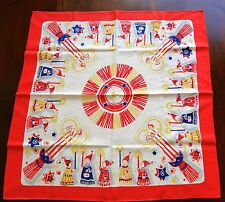 VTG Scandinavian Christmas Tablecloth Square Candles Angels Bright Beautiful!
