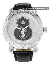 mens diamond silver watch silver dial black money bag leather warranty master