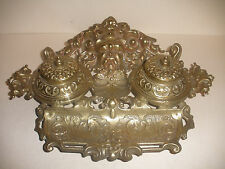NICE ANTIQUE BRASS DOUBLE INKWELL STAND W/ PEN HOLDER DEVIL AND DEER DECORATION