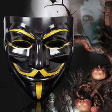 Neu V wie Vendetta Maske Schwarz Gold Mask Guy Fawkes Anonymous Karneval Kostüm
