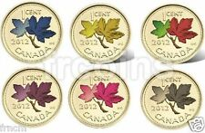 2012 Canadian Penny - Gilded 24 Gold and Colored 6 Coins set