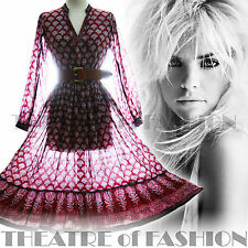 VINTAGE INDIAN DRESS 70s GAUZE 8 10 12 14 16 18 S M L XL XXL HIPPY BOHO WEDDING