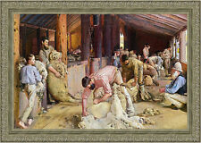 Shearing The Rams by Tom Roberts 90cm x 64cm Framed Silver Ornate