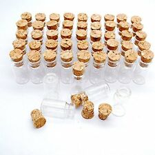 50pcs 1ml Vials Clear Glass Bottles with Corks Miniature Glass Bottle with Cork