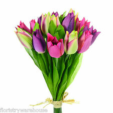 Artificial silk Tulip posy purple, pink, green 15 stems small Tulips bunch 24cm