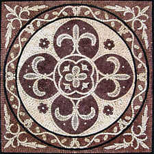"24"" Handmade Decorative Geometric wall floor Marble Mosaic Art Stone Tile Decor."