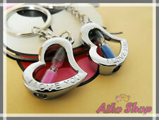 Fashion Couples Keyring, One Set 2 Heart Shape Hourglass Silver keychains