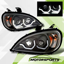 [Plank Style LED DRL] For 1996-2015 Freightliner Columbia Black Headlights Pair