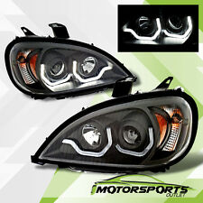 For 1996-2015 Freightliner Columbia Plank Style LED DRL Black Headlights Pair