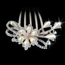 Vintage Rose Gold Hair Comb Clip Hairpin Jewelry Pearls Alloy Hair Accessory