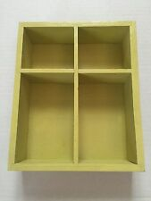 "Small Wood Shadow Box 4 Openings Measures 6"" x 7.5"" x 2"""