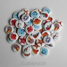 25 Seashell Seahorse Starfish Wooden Buttons Novelty Cardmaking 18mm (030)