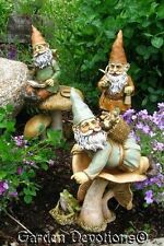 3 Fun Loving GARDEN GNOME STATUES Fabulous Detail ~ INDOOR OUTDOOR QUALITY ds