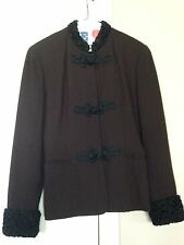 Women's Brown Frog Closure Skirt Suit With Persian Lamb Trim, Size 4