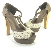 C LABEL WOMEN'S SUDEN-5 T-STRAP SANDALS TAUPE/CREAM FABRIC US SZ 5.5 MEDIUM (B)M