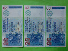 "Hong Kong 1st July 2003 Standard Chartered Bank $20 Replacement ""ZZ"" 3pcs RN"