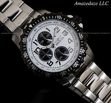 NEW Invicta Mens Stainless Steel Chronograph White Dial Prodiver Watch !!