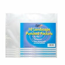50 (5 packs of 10) STRONG A3 CLEAR POLY POCKET PUNCHED PLASTIC WALLET LANDSCAPE