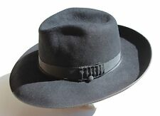 Napoli Collection 6-5/8 (53 cm) Black Fur Felt Wide-Brimmed Fedora Hat
