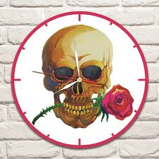 Skull with Rose Color design vinyl record wall clock home art shop office 1