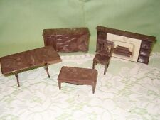 5 Pc Vintage PLASCO Dollhouse Furniture Chair Buffet Fireplace Coffee Table