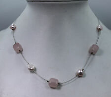 Silpada Rose Quarts And Fresh Water Pearl Necklace with Sterling Silver Clasp