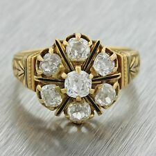 1880s Antique Victorian 18k Solid Gold 1.20ctw Old Mine Diamond Engagement Ring