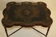 Delightful Bamboo Lift Tray Top Hand Painted Coffee Tea Table