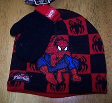 NWT MARVEL SPIDERMAN 3 PC BLACK & RED HAT MITTENS SET Infant / Toddler One Size