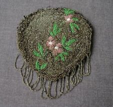 ANTIQUE HAND BEADED FLOWERS & LEAVES PURSE BAG WITH FRINGE  #9770