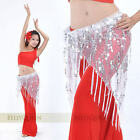 10 color Shining Sequins Triangle Hip Scarf Belt Belly Dance Costumes handmade